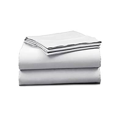 Elles Bedding Collections Bed Sheets 100% Cotton Sheet Set, 450 Thread Count, Sateen Weave, 15 inch Deep Pocket, 4-Piece Bedsheet set (King, White)