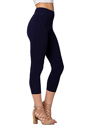 Premium Ultra Soft Stretch High Waisted Cotton Leggings for Women with Yoga Waistband - Capri Navy Blue - Small