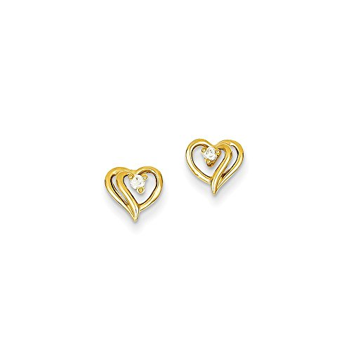 Heart Diamond Earring Aa (14k Yellow Gold AA Diamond Heart Earrings)