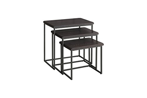Martin Svensson Home 890558 Rustic Collection Solid Wood & Metal 3 Piece Nesting Table, Espresso