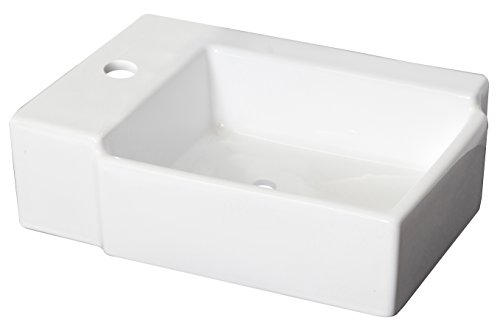 - American Imaginations AI-888-1307 16.25-in. W x 11.75-in. D Wall Mount Rectangle Vessel Color for Single Hole Faucet, White