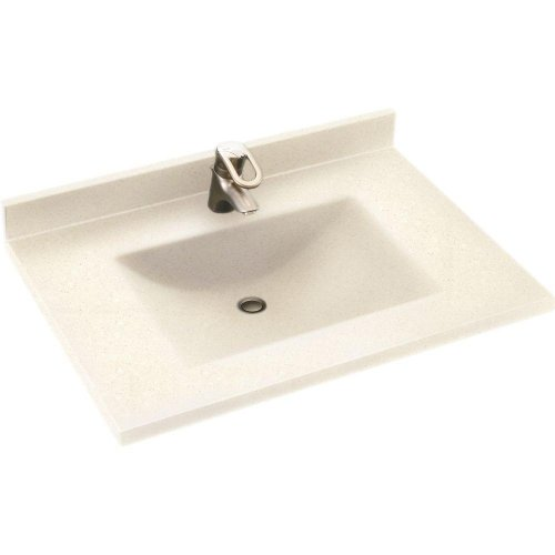 Swanstone CV2231-072 Contour 31-Inch Solid Surface Single Bowl Vanity Top with Pebble Basin - Solid Surface Backsplash