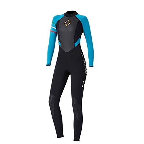 WUAI Men Women's Wetsuit 3mm Full Sleeve Smoothskin Neoprene Diving Swimming Surfing Scuba Jumpsuit Warm Swimwear(Blue,Medium ()