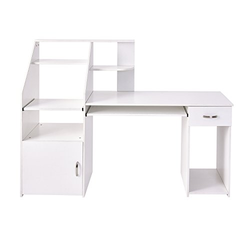 Home Office Computer Workstation Desk Multi-Functions PC Laptop Desk Modern Writing Table with Storage, Cabinet, Drawer, Shelf, Keyboard Tray (White)