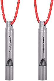 Boundless Voyage Titanium Emergency Whistle 2 Pack Outdoor Emergency Survival Camping Hiking Loud Whistle Coac