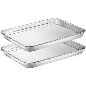 Amazon Com Stainless Steel Baking Sheet Set Of 2 Tray