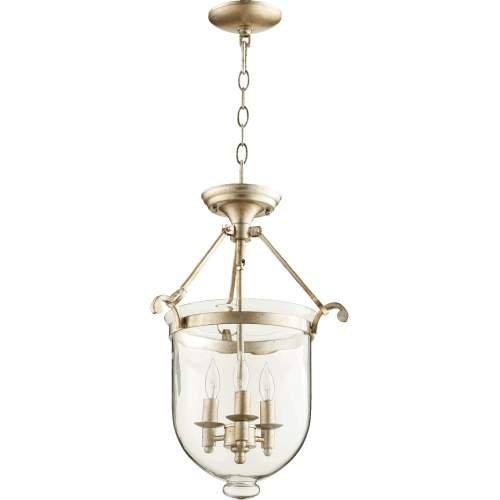 Quorum Lighting 6702-3-60, Entry Bowl Pendant, 3 Light, 60 Total Watts, Aged Silver Leaf