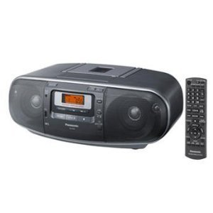 Panasonic RX-D55GC-K Boombox - High Power Portable Stereo AM/FM Radio, MP3 CD, Tape Recorder with USB & Music Port Sound with 2-Way 4-Speaker (Black) ()