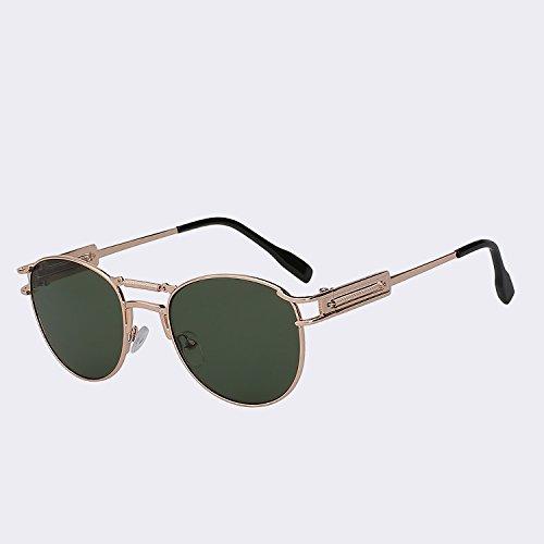 de Steampunk sol de UV400 latón de calidad vigas Gafas G5 metálicas gafas TIANLIANG04 Gafas Vintage w alta para W hombres marrón moda hombre lente del dobles Oculos de green Gold vR7qZZ5xw