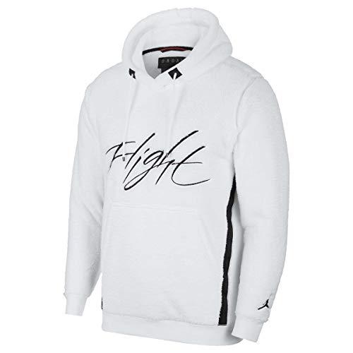 Nike Jordan Sportswear Wings of Flight Men's Sherpa Pullover Hoodie (White/Black, Large)