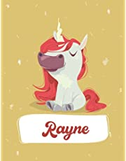 Rayne: Unicorn Notebook Personal Name Wide Lined Rule Paper | Notebook The Notebook For Writing Journal or Diary Women & Girls Gift for Birthday, For Student | 162 Pages Size 8.5x11inch