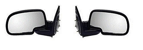 Suburban Chrome Manual Mirror (99 00 01 02 03 04 05 06 Chevrolet Silverado GMC Sierra Mirror Pair Set Manual Black Housing Chrome Cap Suburban Tahoe Yukon Driver and Passenger)
