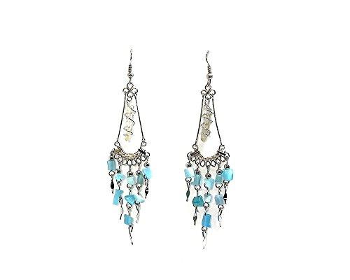 Wire Wrapped Quartz Crystal Chip Stone Chandelier Dangle Earrings (Light (Blue Stone Chandelier)
