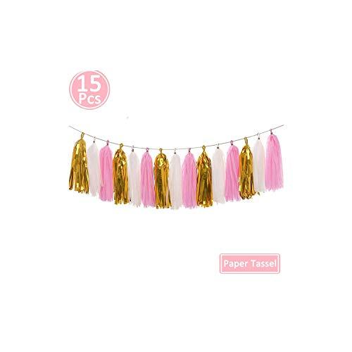 3 Years Birthday Balloons,Party Decorations 3rd I Am Three Boy Girl Banner Third Birthday,15pcs Pink Tassel]()