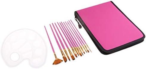 ナイロンヘア ブラシ ペイント刷毛 画材筆 水彩画筆 油絵 木製ハンドル パレットと収納バッグ付き