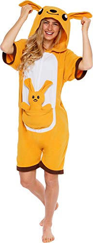Silver Lilly Kangaroo Short Sleeve Animal Pajamas - Plush Adult One Piece Summer Cosplay Costume (Small) Brown