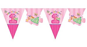 Creative Converting Party Decoration Fun at One Pennant Flag Banner, 1st Birthday, 12-Feet, Pink