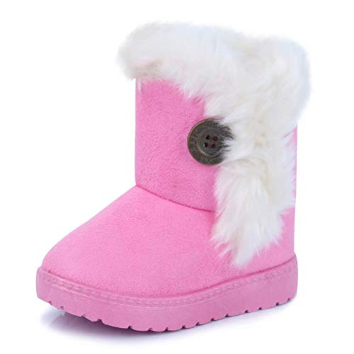 CIOR Fantiny Toddler Snow Boots for Baby Girl Fur Outdoor Slip-on Boots (Toddler/Little Kids) TX-nk-pink27