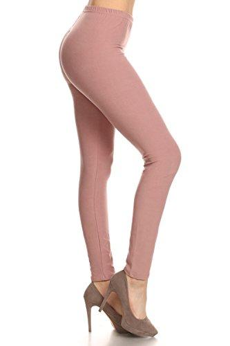 (LDR128-Mauve Basic Solid Leggings, One Size)