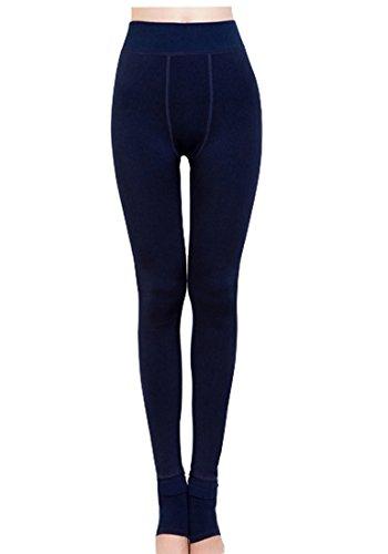 Romastory Winter Warm Women Velvet Elastic Leggings Pants (navy