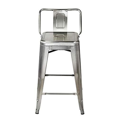 GIA 24-Inch Low Back Stool with Metal Seat, Gunmetal, 2-Pack