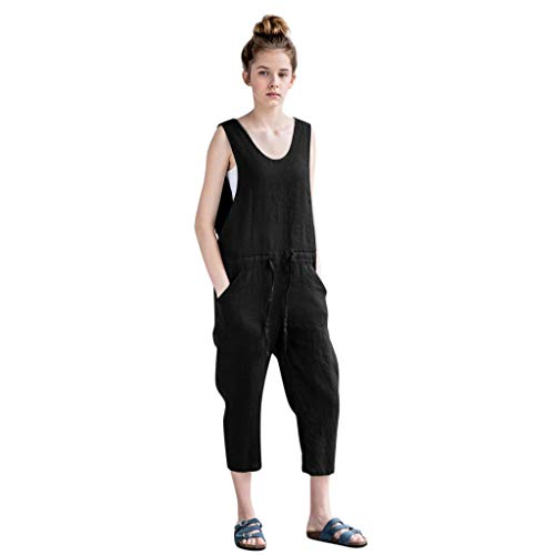 QIQIU Womens Loose Linen Jumpsuit Lace-up V-Neck Casual Garden Wide Leg Long Trousers Summer Rompers Black]()