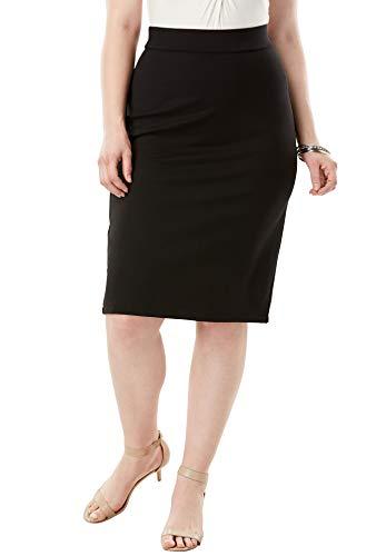 - Roamans Women's Plus Size Ultimate Ponte Pencil Skirt - Black, 20 W
