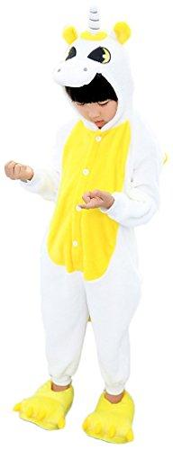 Kigurumi Flanella Animale di Onepiece Tutina Intero White Tuta Natale Costume Bambina And per Pajama Unicorn Compleanno Regalo Cosplay Yellow Halloween Carnevale Sleepwear Party Jumpsuit Unicorno Landove Pigiama Romper Xw0Y1Y