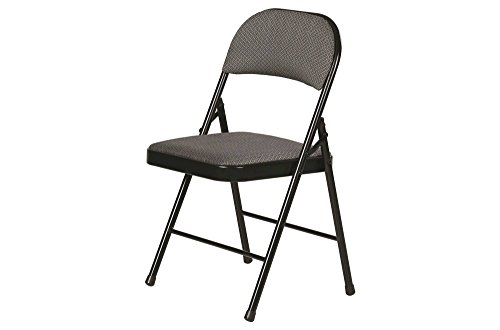 Fabric Padded Folding Chair Gray 4 Pack by Plastic Development Group