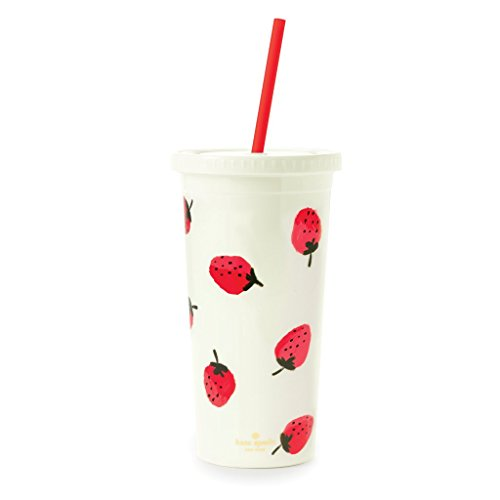 Kate Spade New York Women's Strawberries Tumbler with Straw, Red/Green/White, One Size