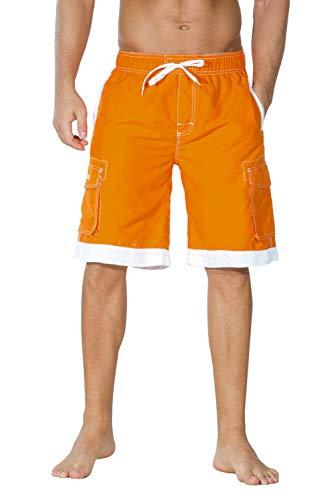 Unitop Men's Hawaiian Casual Fashional Cargo Beach Board Shorts Orange&White 34