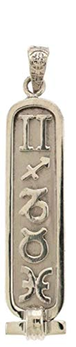 Discoveries Egyptian Imports - Handmade Personalized Sterling Silver Astrological Cartouche with Zodiac Symbols - Solid Style - Made in Egypt (Horoscope By Date Of Birth Time And Place)