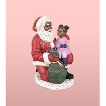African American Christmas Santa Kneeling with Girl Figurine