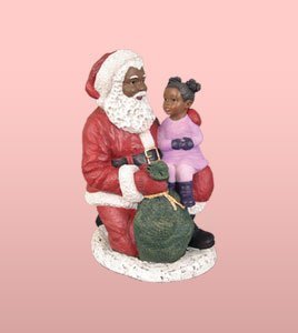 African American Christmas Santa Kneeling with Girl Figurine
