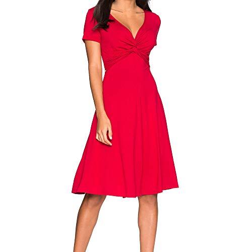 Big Promotion Caopixx Dresses for Women Short Sleeve V Neck Casual Short Evening Party Dress Vintage Tea Dress ()