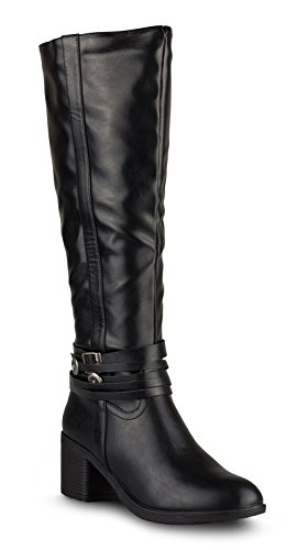 Twisted Women's Barbara Knee-High Fashion Western Boot - BARBARA01 Black, Size 9 (Black Water Boots Western)
