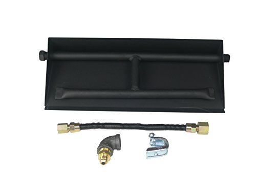 Dreffco 18 Inch NG Powder Coated Steel Complete Fireplace Dual Row Burner Pan Kit - Complete Fireplace