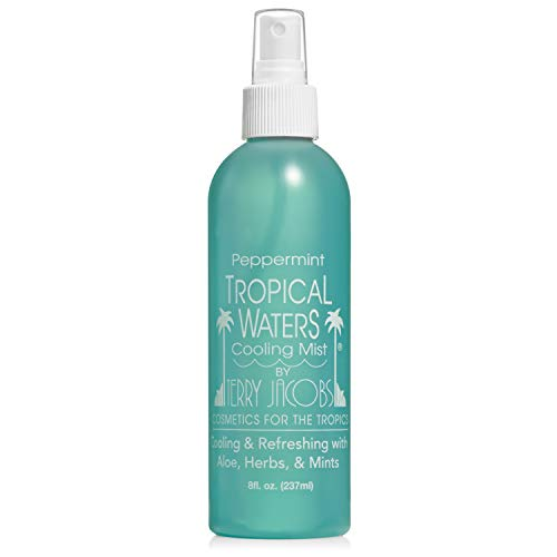 Tropical Waters Peppermint Scent Hydrating Cooling Mist - Blend of Natural Aloe Vera, Vitamins, and Soothing Herbs - Non-irritating - Body Mist Non-irritating & Alcohol Free - Large 8oz Bottle