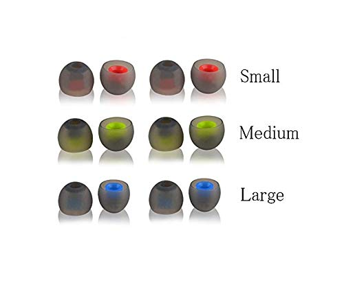 (TenCloud 6 Pairs(12pcs) Replacement Silicone Ear Cushions Tips Covers Clips Earpads for in-Ear Earphone Jabra Sport, Powerbeats3,Beats,Otium, JBL in-Ear Headphones Three Sizes-Small,Medium,Large)