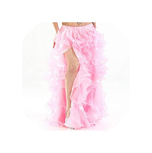 Belly Dance Skirt Sexy Side Slit Dancer Performance Costume Waves SkirtNew,Pink,L -