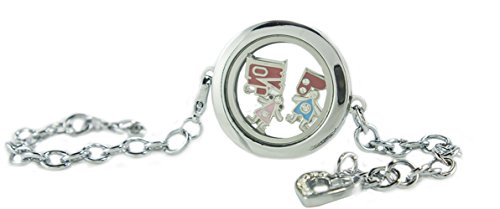 Customizable Silver Circle Floating Locket Bracelet with Dangling Heart and Choice of 6 Charms by BG247 Circle Shaped Locket