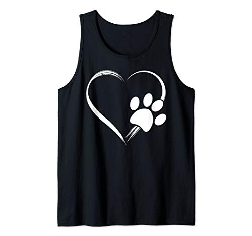 Dog Paw Print Heart T-Shirt - Gift for Mom - Gift for Dad Tank Top