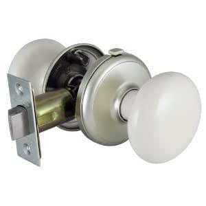 Gainsborough Interior Bath Locking White Porcelain Satin Nickel Door Knob Doorknobs