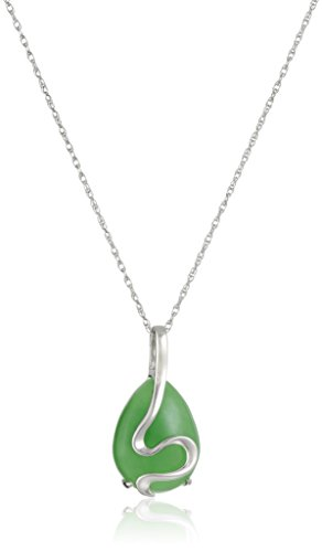 Rhodium-Plated Sterling Silver Green Jade Pear-Shape Pendant Necklace, 18""