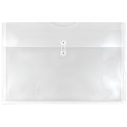 (JAM PAPER Plastic Envelopes with Button & String Tie Closure - Large Booklet - 12 x 18 - Clear - 12/Pack)