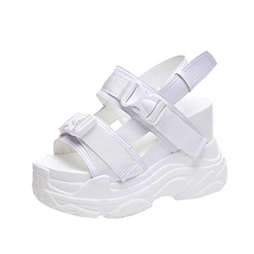 (GHrcvdhw Summer Muffin Bottom Lycra Open-Toed Casual Sandals for Women Super High Thick Bottom Round Toe Shoes White)