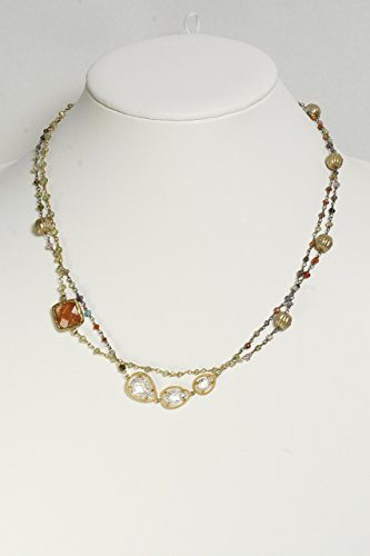 Unique Gemstone Beaded Necklace with Golden Ball Trinkets, Quartz and Cubic Zircon