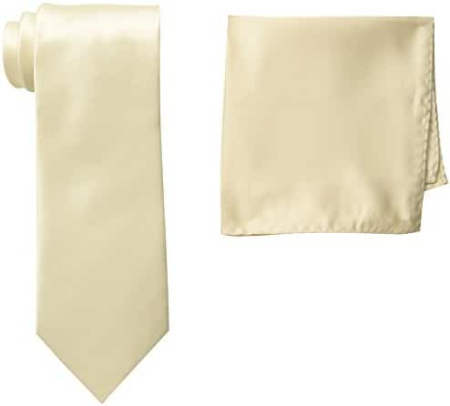 Stacy Adams Men's Tall-Plus-Size Satin Solid Extra-Long Tie Set