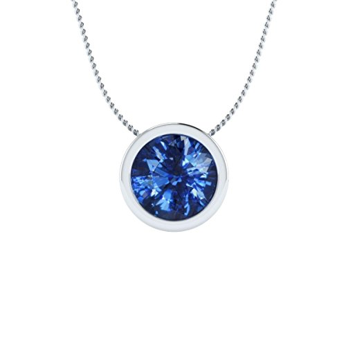 EternalDia 2 Ct Sapphire Solitaire Pendant Necklace Bezel Set with Chain 14K White Gold Over Sterling Silver
