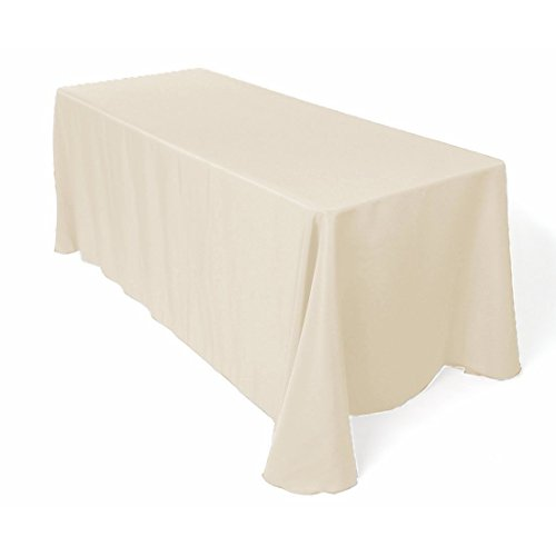 e Tablecloth - 90 x 132 Inch - Beige Rectangular Table Cloth for 6 Foot Table in Washable Polyester - Great for Buffet Table, Parties, Holiday Dinner, Wedding & More (Large Rectangle Table)